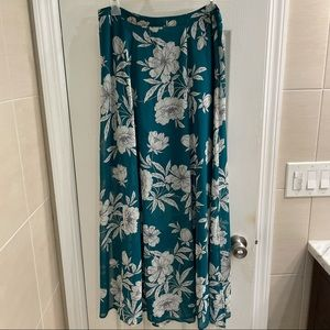 LOFT Teal and White Floral Maxi Skirt w/Slits